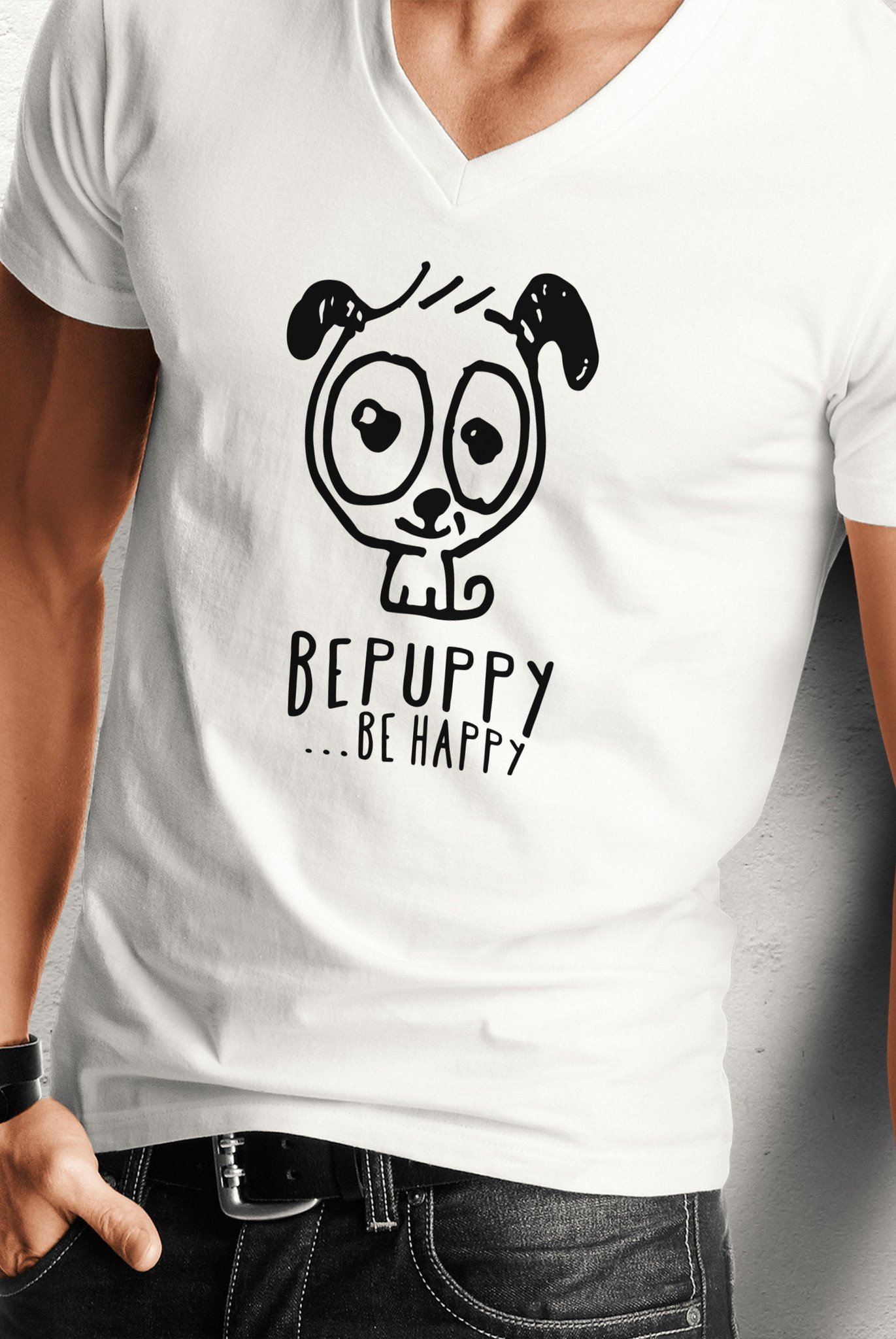 Maglietta con collo a v da uomo, bepuppy be happy! - BEPUPPY