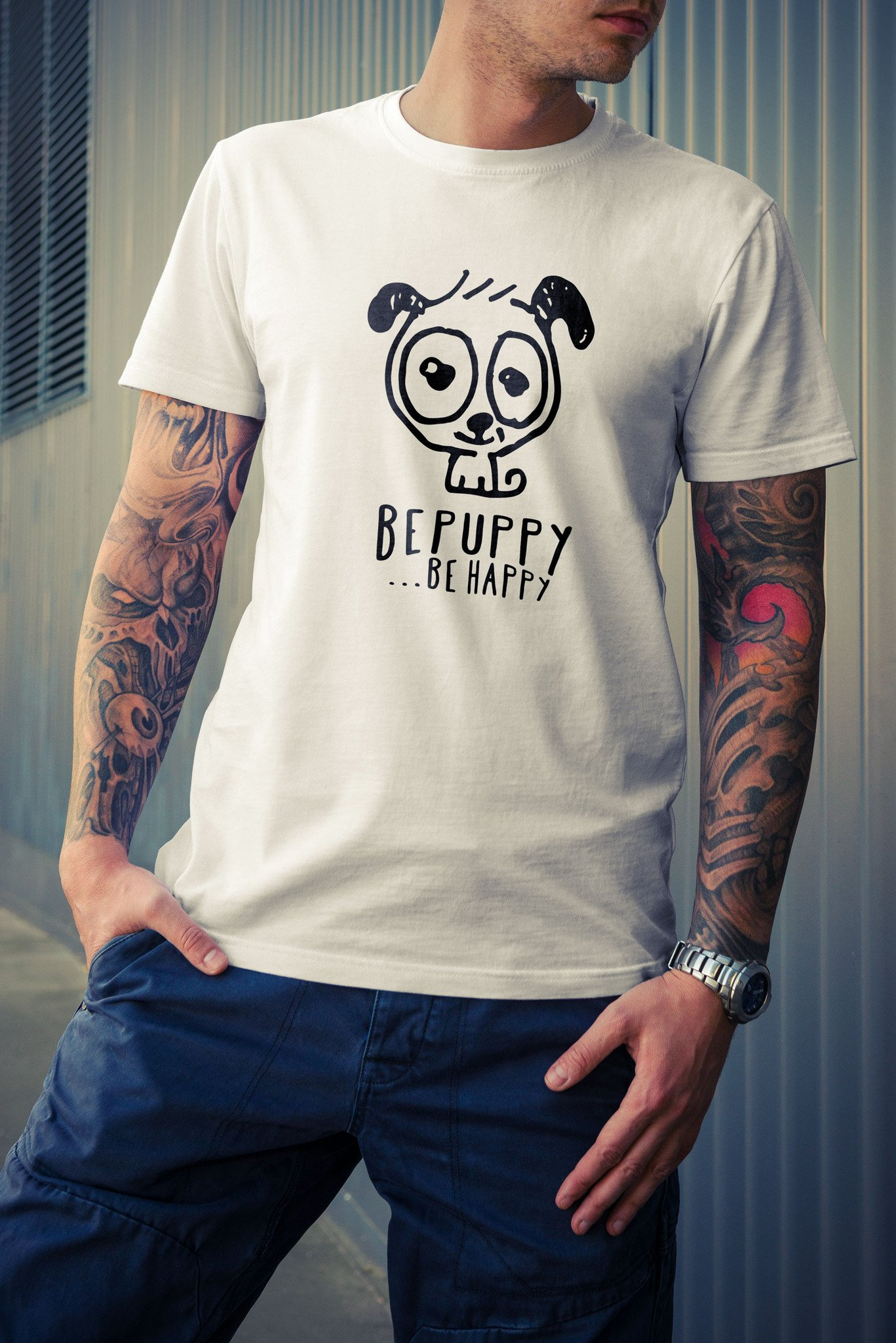 T-shirt uomo online bepuppy be happy! Dog lover t-shirts - BEPUPPY