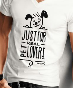 T-shirt con collo a v da uomo, just for real pet lovers! - BEPUPPY
